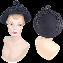 Vintage 1940s New York Creations Blue Fur Felt Hat w/Faille Accents