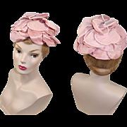 Vintage 1960s Pink Organza & Lamé Rose Petals Half Hat