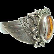 Vintage 925 Silver Winged Scarab Cuff w/Fossil Wood Cabochon