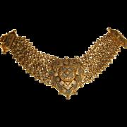 Vintage 1940s Etruscan Revival Brass Bracelet