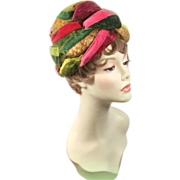 Vintage 60s Christian Dior Chapeaux Velvet Ribbon & Feather Turban Hat