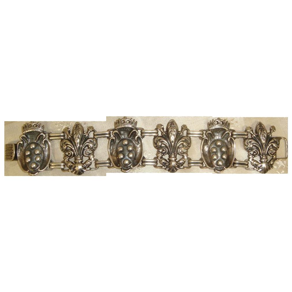 Vintage 40s Parenti Sterling Silver Bracelet Florentine Coats of Arms