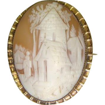 Victorian 1870s Rebecca at the Well Shell Cameo