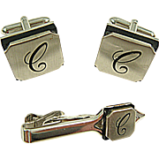 "Vintage 1960 SWANK Embassy Initial ""C"" Cuff Links & Tie Clip Set"