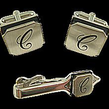 "Vintage 1960 SWANK Embassy Initial ""C"" Cuff Links & Tie Clip Set"