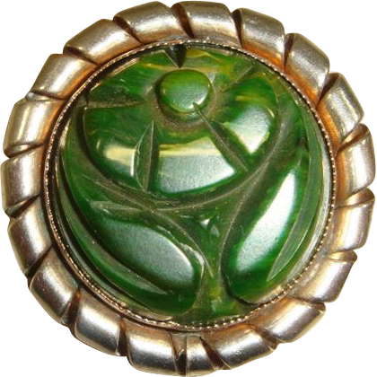 Vintage 30s Green Carved Bakelite Flower Brooch w/Metal Frame