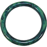 Vintage 1940s Marbled Green Bakelite Tube Bangle