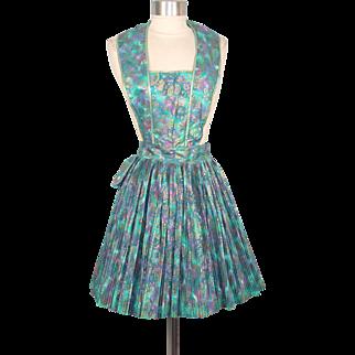 Vintage 1950s NOS Ever-Pleat Turquoise Metallic Paisley Cotton Pinafore Apron