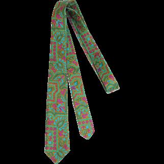 Vintage 1960s Green Tile Print Silk Skinny Tie