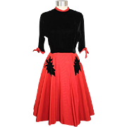 Vintage 1950s Jean Roberts Red & Black Velvet Dress w/Circle Skirt XS