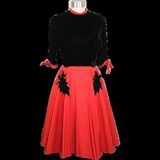 Vintage 1950s Jean Roberts Red & Black Velvet Dress w/Circle Skirt XS