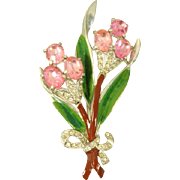 Vintage 1941 Coro Enamel & Rhinestone Pot Metal Flower Brooch Pat. 125,648