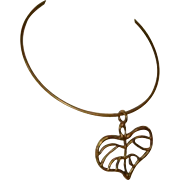 Vintage 1970s Brass Neckwire or Choker w/Pendant Leaf
