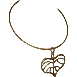 Vintage 1970s Brass Neckwire or Choker w/Pendant Leaf