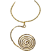 Vintage 1970s Hammered Brass Neck Ring or Choker w/ Spiral Pendant