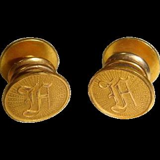 "Vintage 1920s Initial ""A"" Baer & Wilde Kum-A-Part Cuff Links"