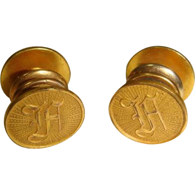 "Vintage 1920s Initial ""A"" Baer & Wilde Kum-A-Part Cuff Links"