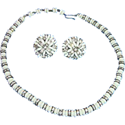 Vintage c. 1950 Vogue Milk Glass & Rhinestone Necklace/Earring Demi Parure