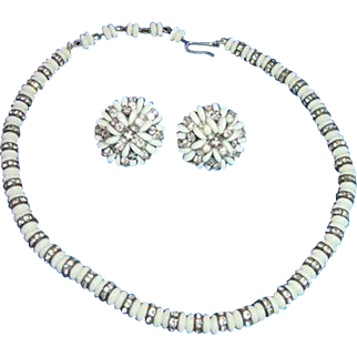 Vintage c. 1950 Vogue Milk Glass & Rhinestone Necklace/Earring Demi Parure