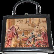 Vintage 1960s Souré Black Oversized Handbag Purse w/Trapunto Tapestry Panel