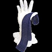 Vintage 70s/80s Lurex-Striped Blue Knit Square Bottom Skinny Tie