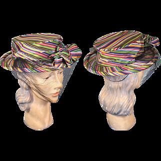 Vintage 40s/50s Roman Striped Taffeta Sailor Tilt Hat