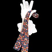 Vintage 1960s Tiki-esque Hand-Print Cotton Bow Tie