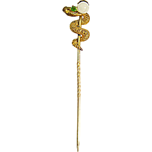 1900s Edwardian Figural Jewelled Serpent Snake Stick or Scarf Pin