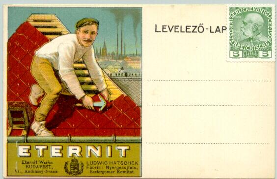 Austrian Hungarian Monarchy: Advertising for Roof Tiles on Postcard