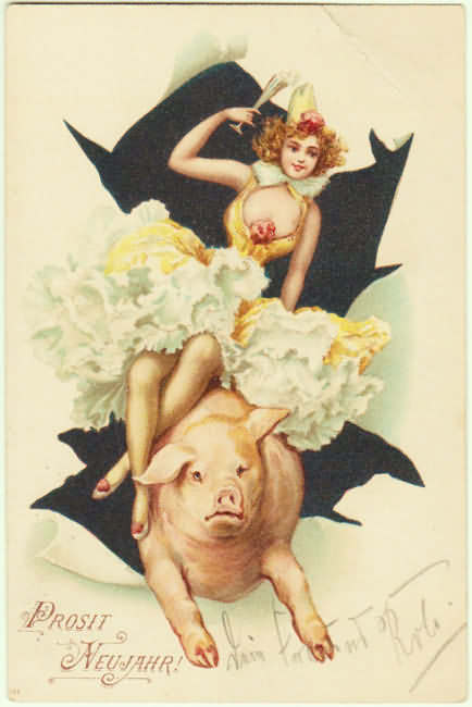 Happy New Year! Lady riding a Pig. 1902