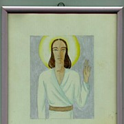 Europe 1920s: 2 Water Colors Jesus and Madonna. Art Deco.