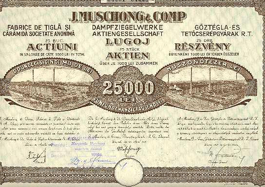 Old Romania Stock Certificate Steam Brick Factory 1000 Lei, 1925