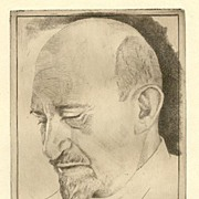 Chaim Weitzman Portrait: Old Etching, Artist signed.