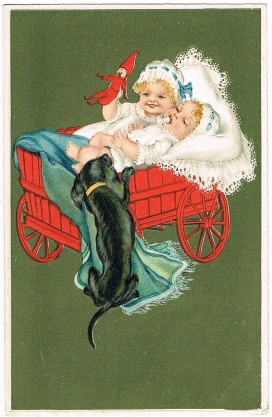Babies and Dachshund, lithographed Postcard 1915