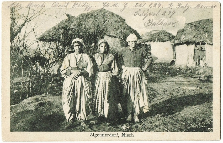 Gypsy Village  in Nisch. Postcard from 1916