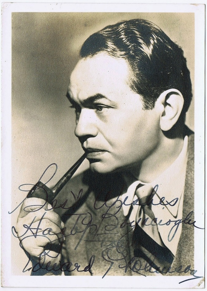 Edward G. Robinson Autograph on Photo. CoA