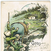 Two old Postcards with Hiking Motifs