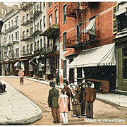 Chinese in Chinatown 2 Vintage Postcards