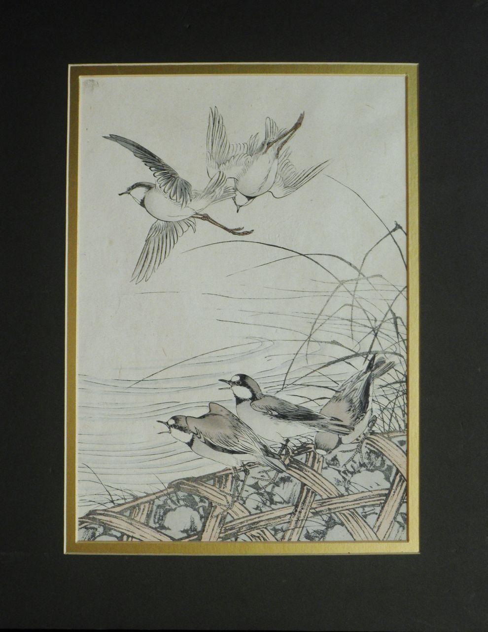 Nishimura Hodo Woodblock Print. Birds and Reed.