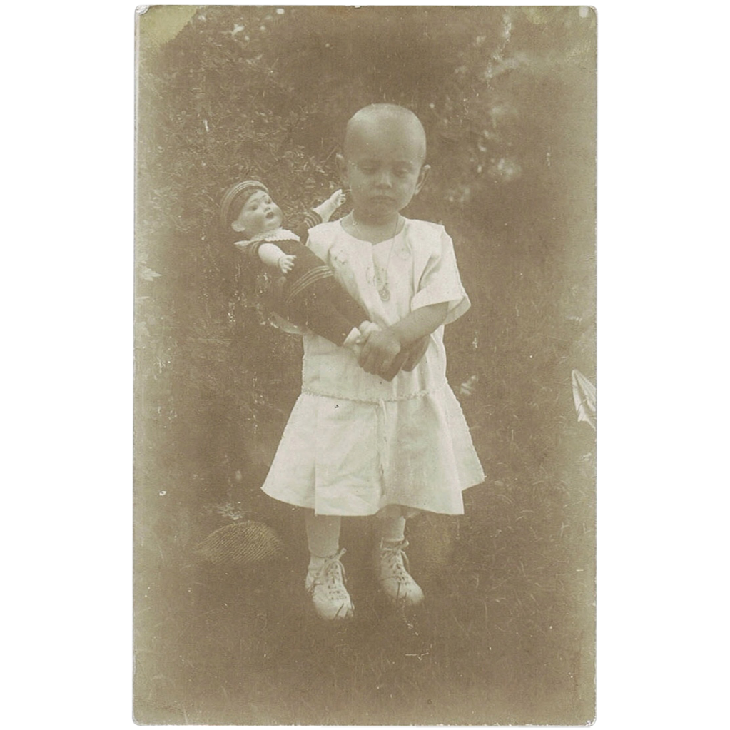Girl with Doll Vintage Postcard