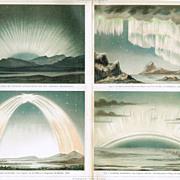 1898: Polar Lights. Old Chromo Lithograph
