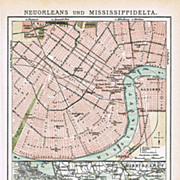 New Orleans and Mississippi-Delta. Old Map from 1899