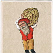 Xmas Postcard with Dwarf and Nut. Embossed, lithographed.