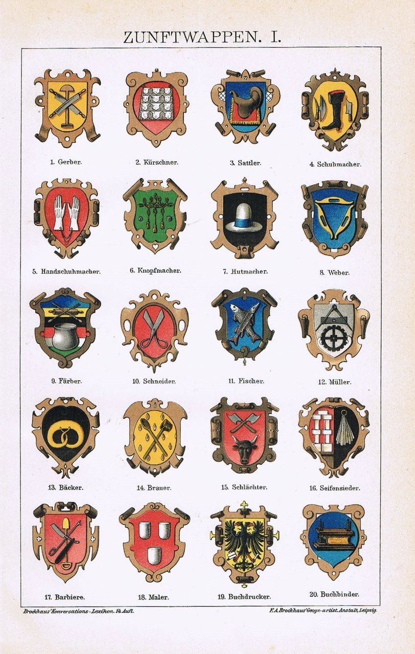 Trade Guilds. 2 Chromo Lithographs, 1901