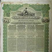 Chinese Reorganisation Loan from 1913, Russian, green