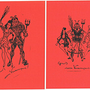 Greetings from Krampus, 2 vintage Postcards