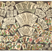 Old Chromolithograph: Decks of Cards. Very decorative