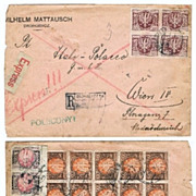 Old Poland Express letter 24 Stamps 1923
