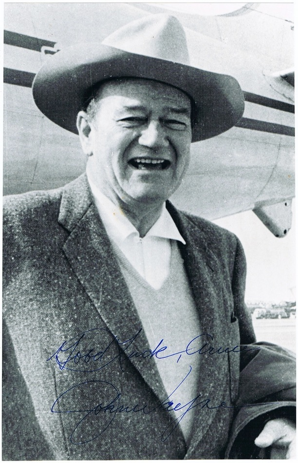 John Wayne Autograph on Photo. 6 x 9. Very attractive. CoA