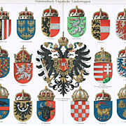 1900: Austro-Hungarian Coats of Arms. Decorative Chromo lithograph.